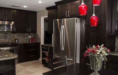 Dark Cabinets and Smart Hidden Storage Update a 1980s Kitchen