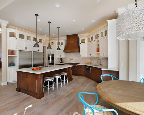 Dark Lower White Upper Cabinets Houzz