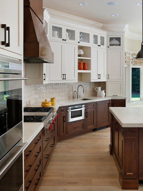 Dark Lower Cabinets Cream Upper Houzz