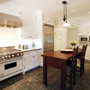 Farmhouse kitchen photo in Los Angeles with white appliances