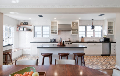 Kitchen of the Week: Graphic Floor Tiles Accent a White Kitchen