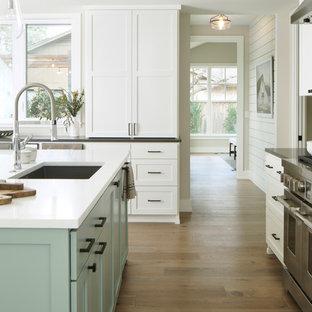 オースティンの中サイズのカントリー風おしゃれなキッチン (シングルシンク、シェーカースタイル扉のキャビネット、白いキャビネット、クオーツストーンカウンター、シルバーの調理設備の、淡色無垢フローリング、マルチカラーの床、白いキッチンカウンター) の写真