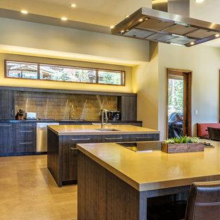 サクラメントの広いコンテンポラリースタイルのおしゃれなキッチン (ドロップインシンク、フラットパネル扉のキャビネット、濃色木目調キャビネット、コンクリートカウンター、ベージュキッチンパネル、メタルタイルのキッチンパネル、シルバーの調理設備、コンクリートの床) の写真