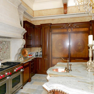 Large traditional eat-in kitchen appliance - Example of a large classic l-shaped eat-in kitchen design in New York with raised-panel cabinets, medium tone wood cabinets, onyx countertops, red backsplash, stone tile backsplash and an island