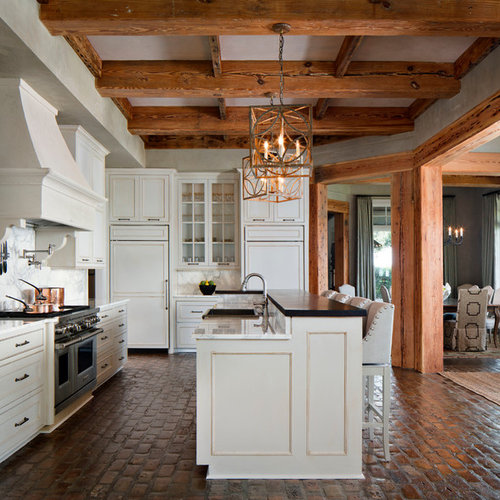 Traditional Open Concept Kitchen: Glazed Brick