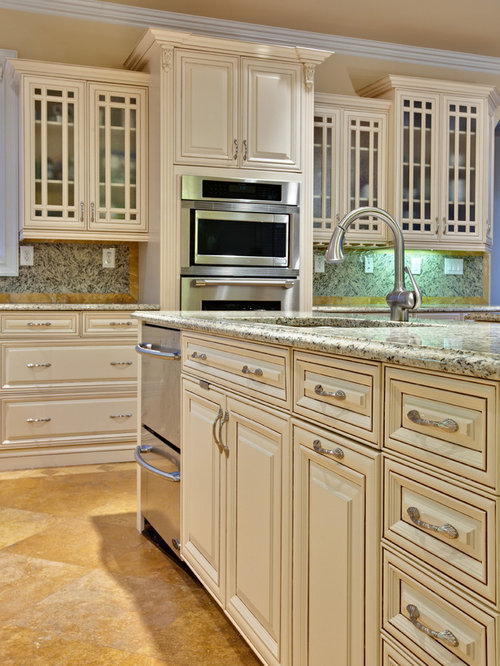 Cream glazed cabinets home design ideas pictures remodel for Antique ivory kitchen cabinets