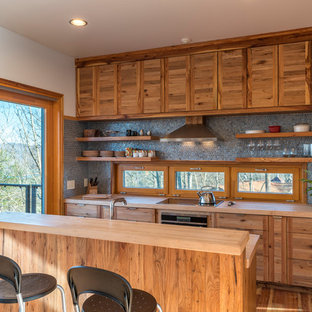 Contemporary kitchen designs - Inspiration for a contemporary medium tone wood floor kitchen remodel in Denver with open cabinets, medium tone wood cabinets, wood countertops, gray backsplash, window backsplash and an island