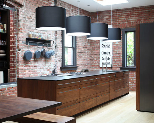 black walnut kitchen island | houzz