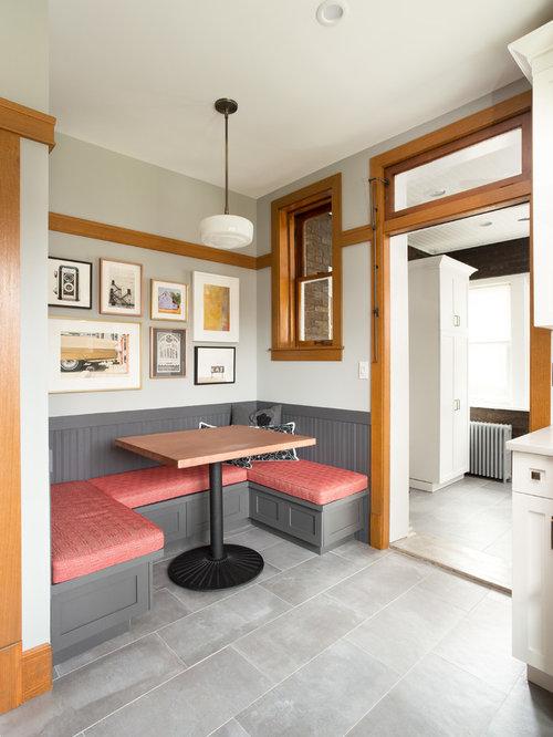 Kitchen/dining Room Combo   Craftsman Porcelain Floor And Gray Floor Kitchen /dining Room