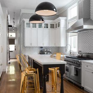 Idee per una cucina tradizionale con lavello sottopiano, ante con riquadro incassato, paraspruzzi multicolore, elettrodomestici in acciaio inossidabile e pavimento in legno massello medio