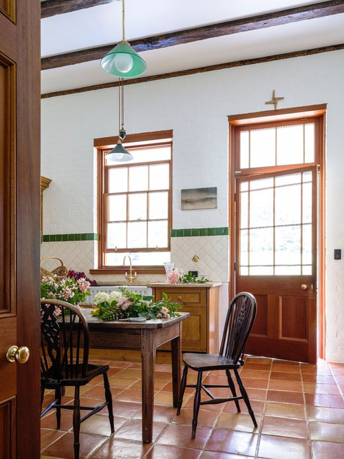 Design Ideas For A Country Galley Eat In Kitchen In Wollongong With A  Farmhouse Sink