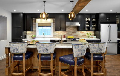Black Cabinets and Mexican Tile Give This Kitchen Character