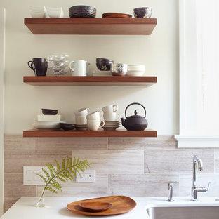 Esempio di una cucina minimal con nessun'anta, top in quarzo composito e lavello sottopiano