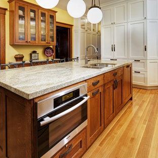 Esempio di una cucina stile americano chiusa con ante in stile shaker, ante in legno scuro e elettrodomestici in acciaio inossidabile