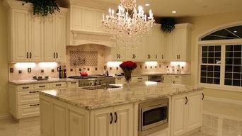 Luxurious Kitchen w/Antique White Cabinetry & Sienna Bordeaux Granite Countertop