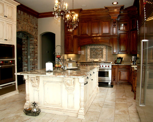 Kitchen Design Ideas Renovations Photos With Distressed Cabinets And Ceramic Floors