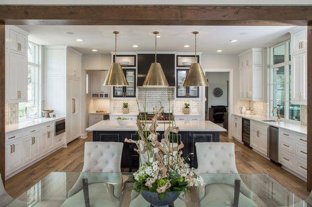 Great Transitional Kitchen by Kelle Contine Interior Design LLC
