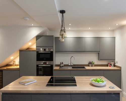 Inspiration For A Small Contemporary And Modern Galley Kitchen In London  With A Built In
