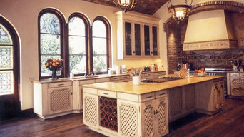 Luxury Kitchen in Tuscan Villa With Wide Plank, Reclaimed and Rustic Floors