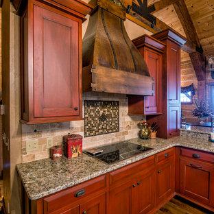 Idéer för att renovera ett stort rustikt kök, med en rustik diskho, släta luckor, granitbänkskiva, rostfria vitvaror, mörkt trägolv och flera köksöar