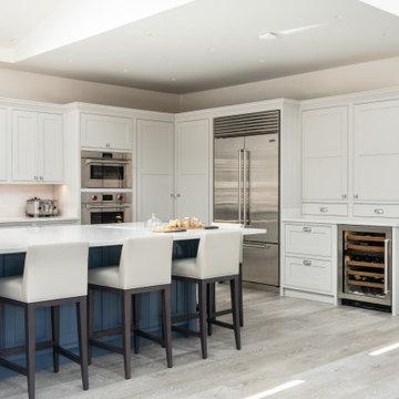 Luxury Open Plan Kitchen - Classic Shaker Kitchen Style - Blue & White