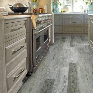 Geschlossene, Zweizeilige, Mittelgroße Country Küche ohne Insel mit Landhausspüle, Kassettenfronten, grauen Schränken, Küchengeräten aus Edelstahl, Vinylboden und grauem Boden in Raleigh