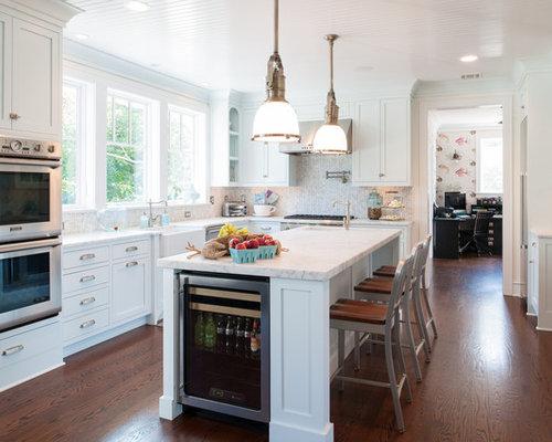 Coastal Dark Wood Floor Kitchen Photo In Philadelphia With A Farmhouse  Sink, Shaker Cabinets,