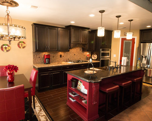 142 U-Shaped Kitchen Design Photos with Red Cabinets and Raised-Panel ...