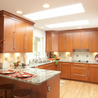 Contemporary kitchen photos - Inspiration for a contemporary u-shaped kitchen remodel in Detroit with flat-panel cabinets and medium tone wood cabinets