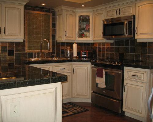 Black Tile Countertops Kitchen