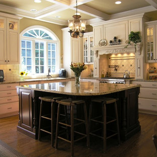 Kitchen - contemporary kitchen idea in DC Metro with raised-panel cabinets and granite countertops