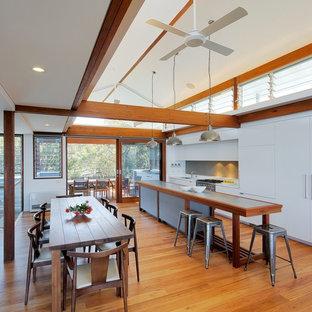 Esempio di una cucina design con top in zinco, pavimento in legno massello medio e ante lisce