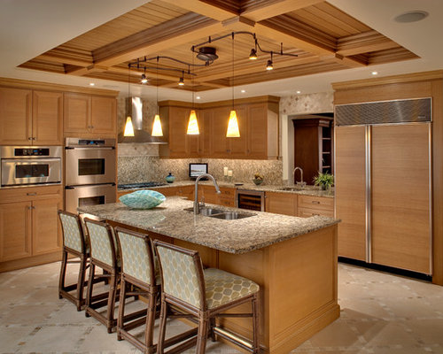 double-bowl sink, recessed-panel cabinets, medium tone wood cabinets ...