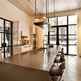 Large contemporary enclosed kitchen ideas - Inspiration for a large contemporary galley dark wood floor and brown floor enclosed kitchen remodel in Indianapolis with an undermount sink, flat-panel cabinets, light wood cabinets, metallic backsplash, mirror backsplash, stainless steel appliances, an island, gray countertops and quartz countertops