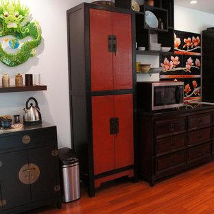 シカゴの大きいアジアンスタイルのおしゃれなキッチン (マルチカラーのキッチンパネル) の写真