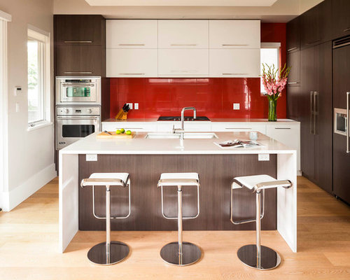 Lovely Minimalist Kitchen Photo In Vancouver With Flat Panel Cabinets, White  Cabinets, Red Backsplash