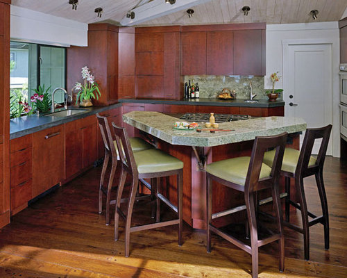 V shape island houzz Kitchen triangle design with island