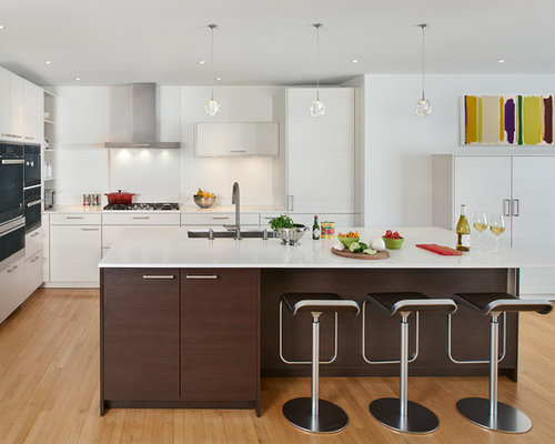 Ordinaire Contemporary Kitchen Ideas   Inspiration For A Contemporary L Shaped Medium  Tone Wood Floor And