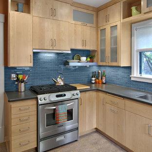 Trendy Kitchen Photo In Minneapolis With An Undermount Sink, Blue Backsplash  And Matchstick Tile Backsplash