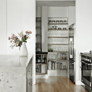 Inspiration for an industrial kitchen pantry with flat-panel cabinets, stainless steel cabinets, concrete worktops, white splashback, metro tiled splashback, stainless steel appliances, medium hardwood flooring and brown floors.