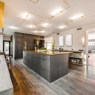 ロサンゼルスの巨大なコンテンポラリースタイルのおしゃれなキッチン (白いキッチンパネル、フラットパネル扉のキャビネット、コンクリートカウンター、グレーのキャビネット、グレーの床、無垢フローリング、サブウェイタイルのキッチンパネル) の写真