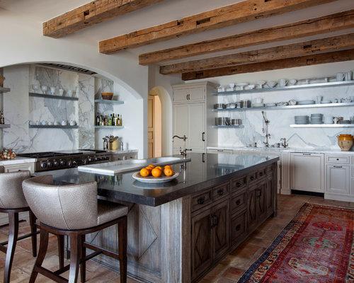 mediterrane k chen mit terrakottaboden ideen bilder houzz. Black Bedroom Furniture Sets. Home Design Ideas