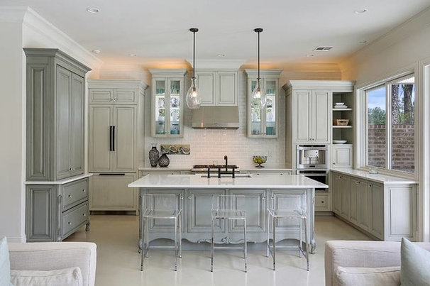 Transitional Kitchen by Maria Barcelona Interiors, LLC