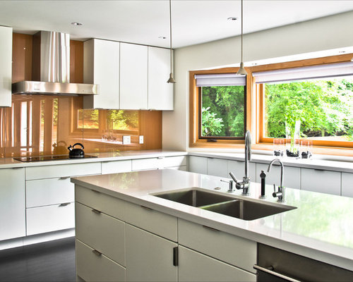 Example Of A Minimalist Kitchen Design In Vancouver With An Undermount  Sink, Flat Panel