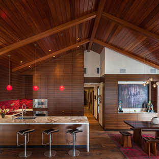 Eat-in kitchen - asian u-shaped eat-in kitchen idea in Los Angeles with flat-panel cabinets