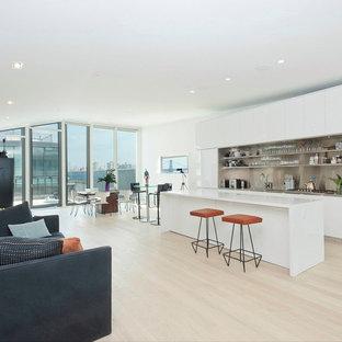ニューヨークの中くらいのコンテンポラリースタイルのおしゃれなキッチン (フラットパネル扉のキャビネット、白いキャビネット、メタリックのキッチンパネル、メタルタイルのキッチンパネル、パネルと同色の調理設備) の写真