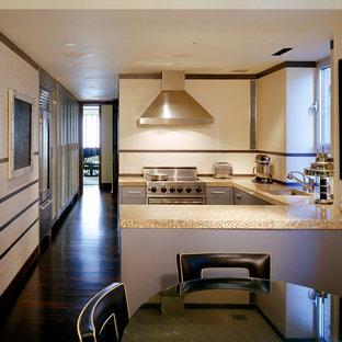 ニューヨークの中サイズのエクレクティックスタイルのおしゃれなキッチン (アンダーカウンターシンク、フラットパネル扉のキャビネット、グレーのキャビネット、テラゾーカウンター、マルチカラーのキッチンパネル、セラミックタイルのキッチンパネル、シルバーの調理設備、濃色無垢フローリング、茶色い床、マルチカラーのキッチンカウンター) の写真