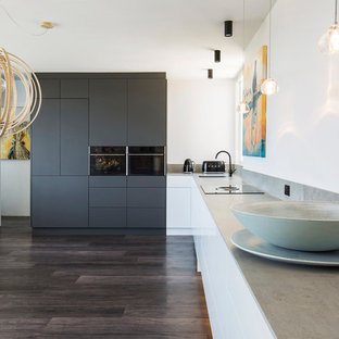 Large scandinavian l-shaped open plan kitchen in Sydney with an undermount sink, flat-panel cabinets, black appliances, no island, brown floor, grey benchtop, grey cabinets and quartz benchtops.