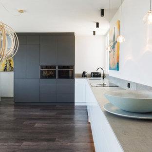 シドニー, NSW, AUの広いL型北欧スタイルのLDKの写真 (アンダーカウンターシンク、フラットパネル扉のキャビネット、黒い調理設備、アイランドなし、茶色い床、グレーのキッチンカウンター、グレーのキャビネット、クオーツストーンカウンター)