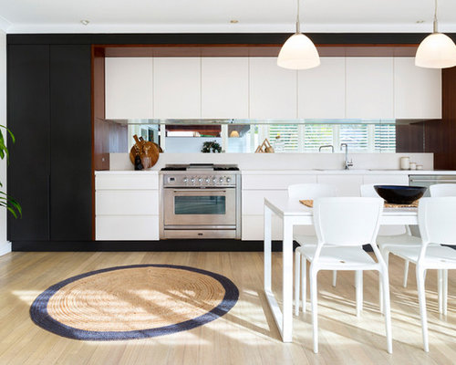 Photo Of A Mid Sized Beach Style Galley Kitchen In Sydney With Flat Panel Part 96